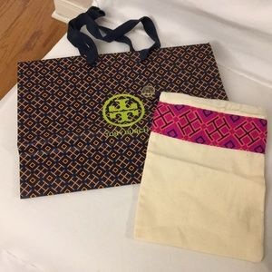 Tory Burch pouch and gift bag.